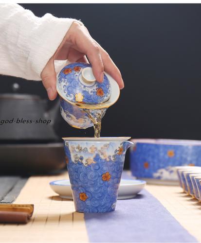 creative Jingdezhen gaiwan ceramic color enamel porcelain tureen with lid China