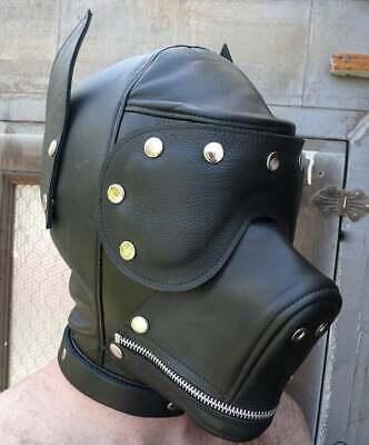 Dog Mask Leather (GENUINE BLACK LEATHER PUPPY MASK With Mouth GAG BONDAGE DOG HOOD DETACHABLE)