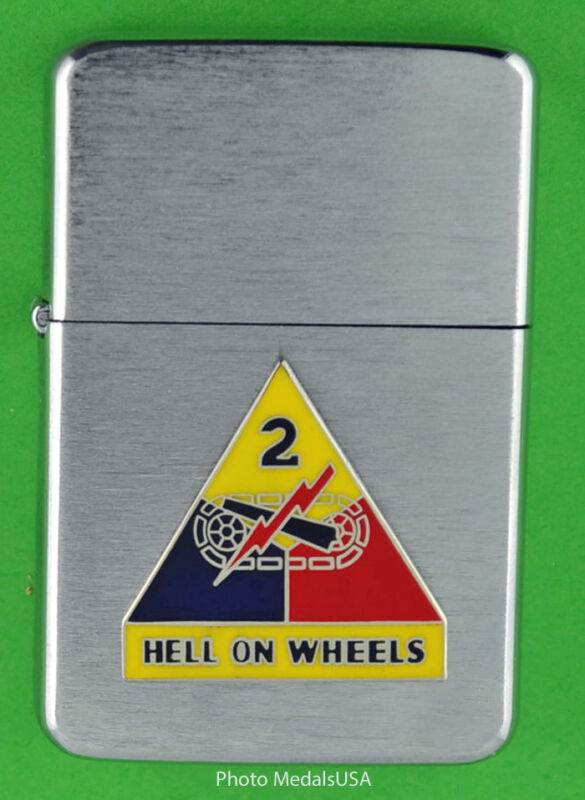 2nd ARMORED DIVISION WINDPROOF PREMIUM LIGHTER &GIFT BOX ARMY ACR SBC132