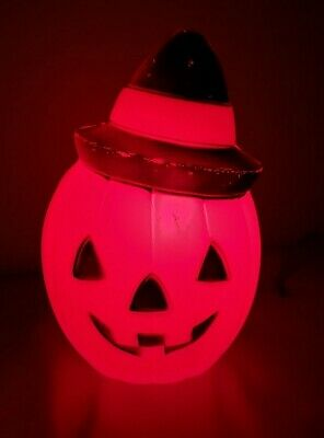 "Vintage 1981 Empire Jack O Lantern Blow Mold Lighted Pumpkin 8"" Witch Hat Decor"