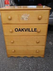 "Child's 39"" Dresser Oakville Solid Wood Kids Babys Room Vintage Retro Made in Canada Pine Clean Tall"