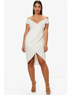 Boohoo Plus Womens Ivory Open Shoulder Wrap Bodycon Dress Size 22