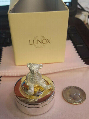 Lenox Smithsonian Teddy Bed Tooth Fairy Box Silverplate, Kirk Stieff Collection^