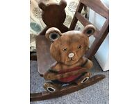 Handcarved Teddy Bear Children's Rocking Chair in Solid Wood