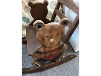 TEDDY BEAR CHILDREN'S SOLID WOOD ROCKING CHAIR - HEART DESIGN