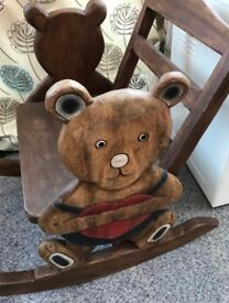 HANDMADE CARVED SOLID WOOD CHILDREN'S ROCKING CHAIR WITH TEDDY BEAR HEART DESIGN