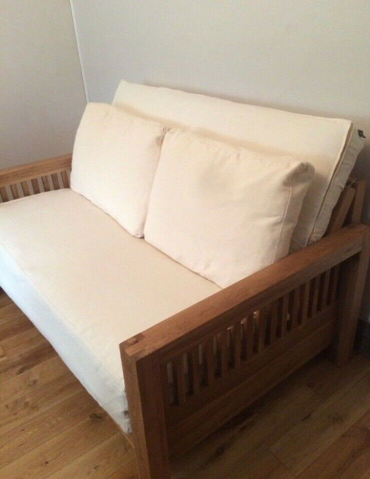 Beautiful 2 Seat Solid Oak Frame Sofa Bed By Futon Company Mattress And Cover