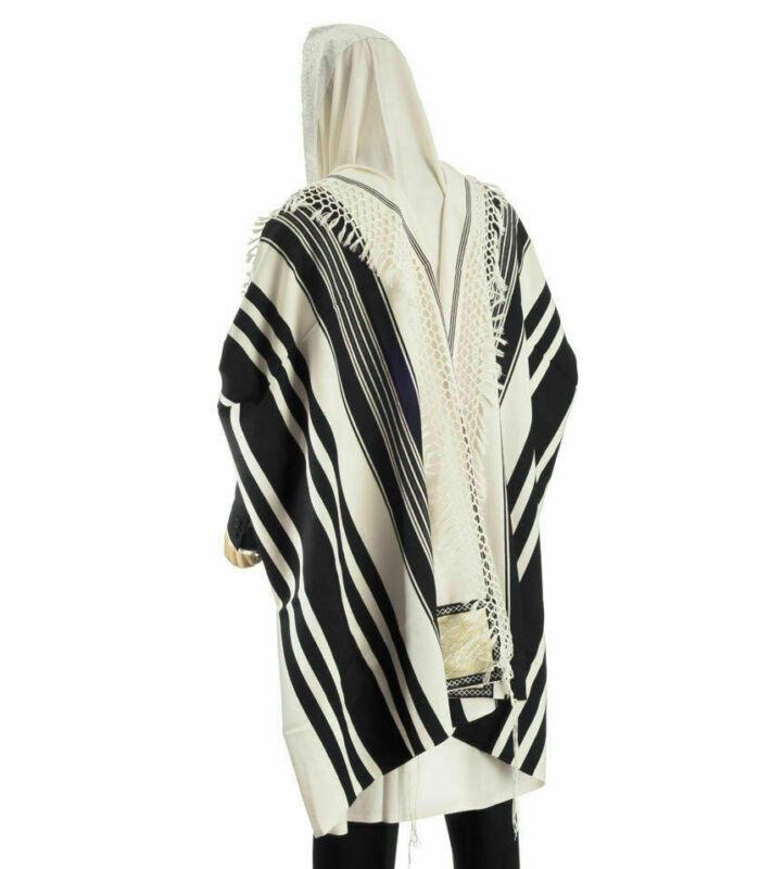 """100% Wool Tallit Prayer Shawl Special Handmade Yemenite Fringe 59""""X98"""""""