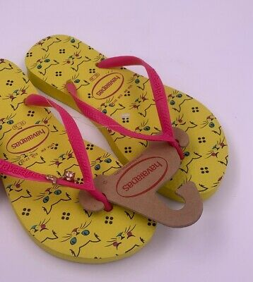 havaianas Pet Yellow Pink Cat Flip Flips Women's USA Size 6W EUR Size 37/38 (Havaianas Yellow)