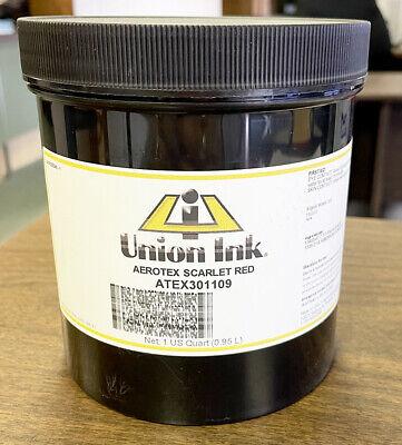 Union Ink Aero-tex Air Cure Textile Ink- Quart- Scarlet Red Atex3011q