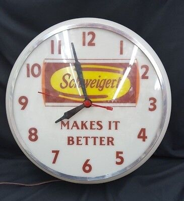 Vintage Meat Company Schweigert Makes it Better Large Round Electric Wall Clock