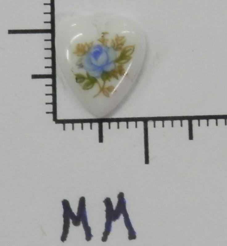 70311     Porcelain -   Single Blue Rose Floral Heart Shape 11.5x10 - by dz SALE