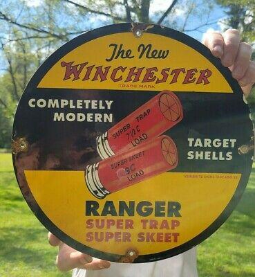 VINTAGE DATED 1933 WINCHESTER RANGER SHOTSHELL AMMO SHELLS PORCELAIN GUN SIGN