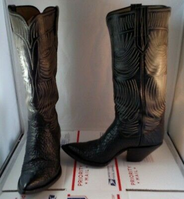 "Women's 16"" Tall Custom Handmade Paul Bond Cowboy Cowgirl Boots Size 9 Leather"