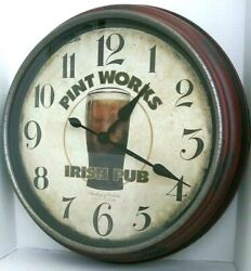 PINT WORKS IRISH PUB BEER WALL CLOCK - ANTIQUE FINISH - STERLING & NOBLE DECOR