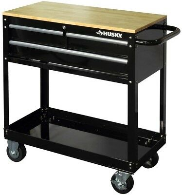 Husky Rolling Tool Cart 3 Drawer Solid Wood Top 36 in. Utili