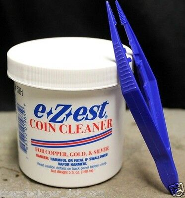 E-Z-EST ✯ Silver Gold Coin Bullion Jewelry Cleaner 5 oz Jar w/ Plastic Tweezers