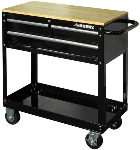 36 in. 3-Drawer Rolling Tool Cart with Solid Wood Top Work S