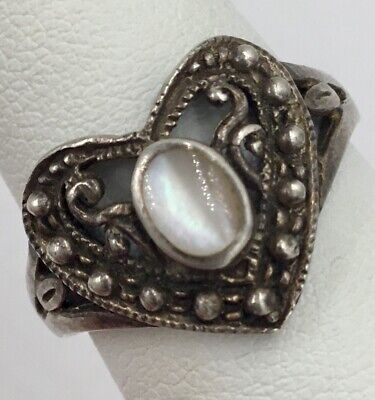 Sterling Silver Mother Of Pearl Ladies Filigree Heart Ring Size 8