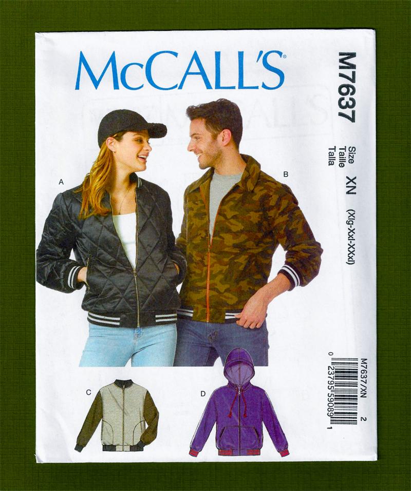 Men or Women's Bomber Jacket Sewing Pattern  McCalls 7637