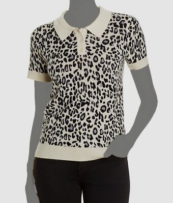 $498 C by Bloomingdale's Women Ivory Black Gray Cashmere Polo Sweater Top Size M