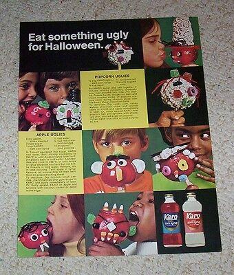 1972 print ad - Karo Halloween boys girls Ugly face apples popcorn balls recipe