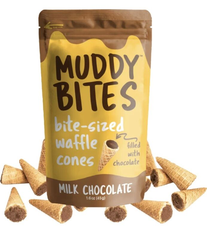 (5 Bags) Muddy Bites Bite-Sized Waffle Cones Filled With Chocolate (75 bites)