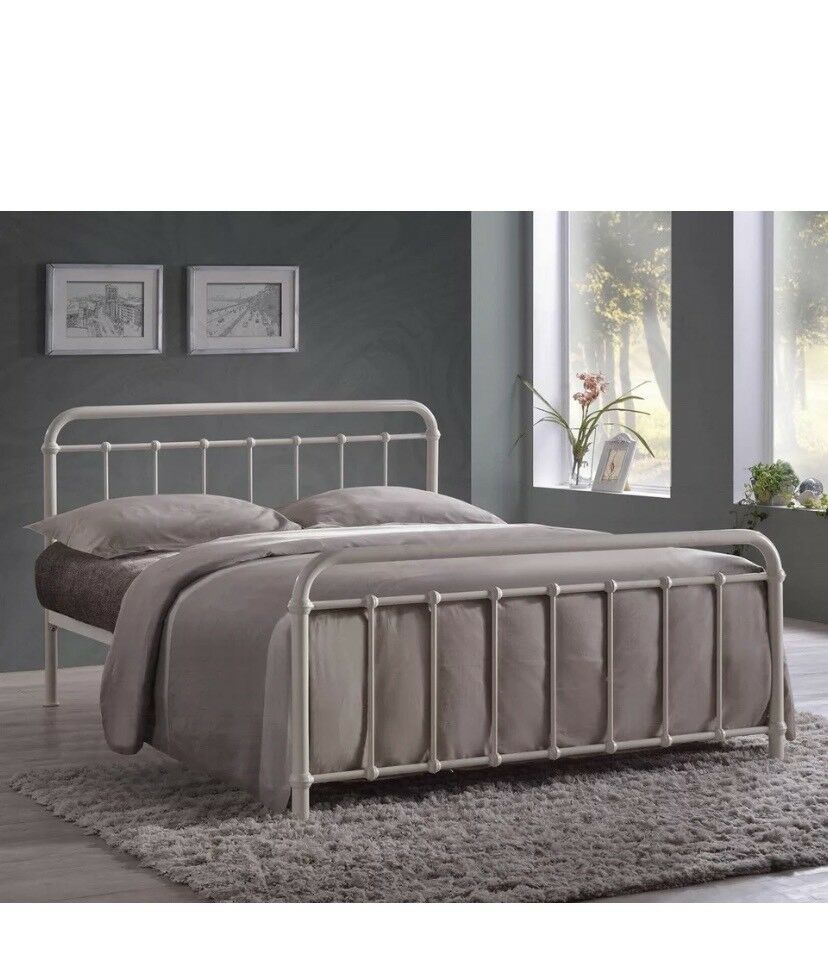Miami Ivory Metal Bed Frame 4ft Small Double In Dewsbury West