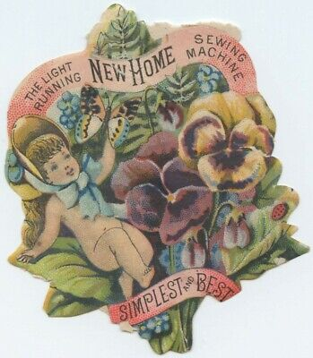 New Home Sewing Machine Cherub Butterfly Pansies Diecut Victorian Trade Card  for sale  Shipping to Nigeria