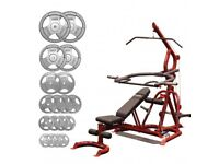 Body-Solid Corner Leverage Gym with Flat Incline Decline Bench and 125Kg Tri-Grip Olympic Disc Kit