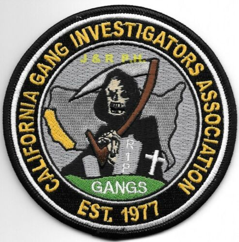 """California Gang Investigators  (4"""" round size) shoulder police patch (fire)"""