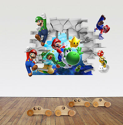 New 3D Super Mario Bros Removable HUGE Wall Stickers Decal Kids Home Decor USA ()