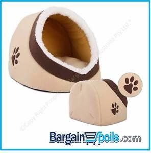 Pet Cat Igloo w/ Soft Mat PP Cotton Pad - Beige North Melbourne Melbourne City Preview