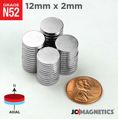 12 50 100pc 12mm X 2mm 12 X 116 N52 Strong Rare Earth Neodymium Magnet Disc