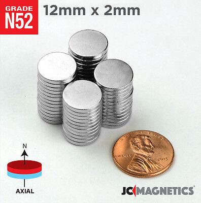 12 50 100pc 12mm X 2mm 12 X 116 N52 Strong Rare Earth Neodymium Magnet Disc