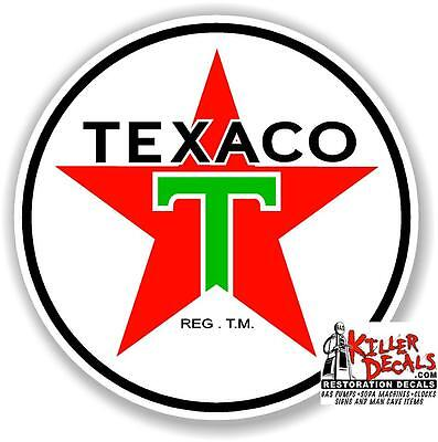 "12"" TEXACO POST WAR GASOLINE DECAL GAS AND OIL PUMP, SIGN WALL ART STICKER"