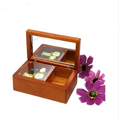Wooden Rectangle Mirror jewelry Music Box : Canon in D