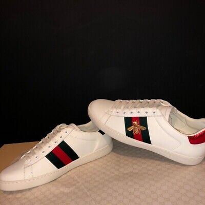 Gucci Ace Bee White Leather Low Top Sneakers Trainers Size Uk 7.5 Fits Uk 8