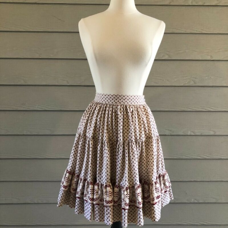 Vintage Maroon & Cream Square Dance Skirt Rockmount Ranch Wear Size Small