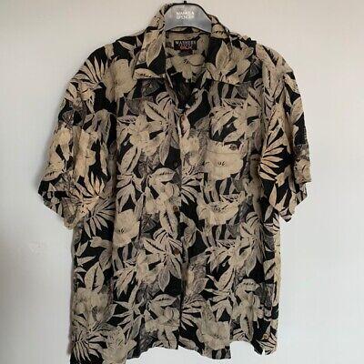 Vintage Retro Mens Festival Hawaiian Patterned Silk Shirt