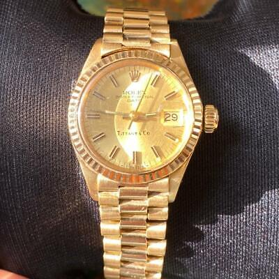 ROLEX DATE LADIES PRESIDENT TIFFANY 6917 18KT YELLOW GOLD VINTAGE GENUINE WATCH