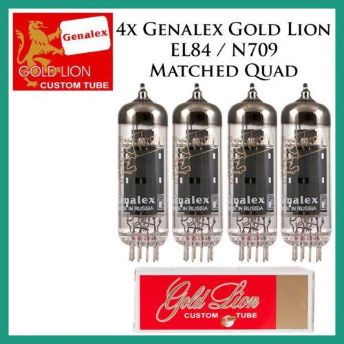 New 4x Genalex Gold Lion EL84 / N709 / 6BQ5 Matched Quad / Quartet / Four Tubes