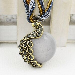 Fashion Jewelry Vintage Look Millet Chain Cute Crystal Peacock Pendant Necklace