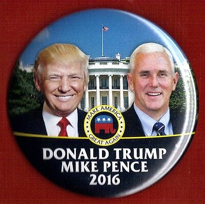 2016 Donald Trump   Mike Pence 3  Large Size     Campaign Button Pin 24L