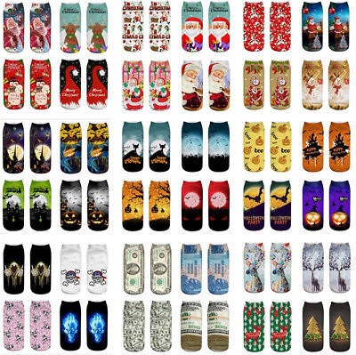 Unisex Halloween Xmas Socks Cotton 3D Printed Animal Low Cut Ankle Sock 1 Pair