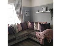 Crush velvet corner sofa dfs