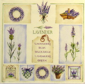4-x-Single-Luxury-Paper-Napkins-for-Decoupage-and-Craft-Vintage-Lavenders