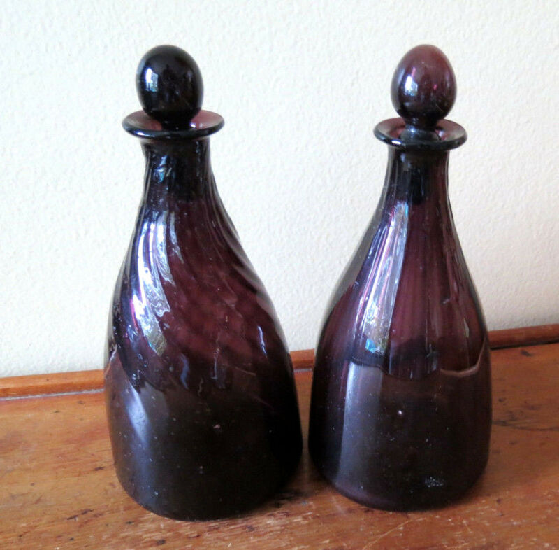 PAIR PURPLE AMETHYST DECANTERS - 19th C PONTILED - HAND BLOWN