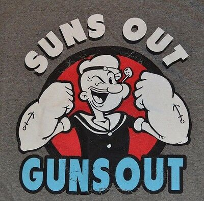 Popeye T-shirt Tee - Popeye Suns Out Guns Out T-Shirt Officially Licensed Merchandise Adult Tee