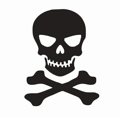 Skull and Crossbones Vinyl Die Cut Car Decal Sticker - FREE SHIPPING - Skull And Crossbones Stickers
